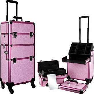 Ver Beauty 360 degreed wheels 2-in- 1 professional artist rolling trolley aluminum cosmetic organizer makeup train case