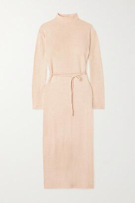 Vince Belted Cotton-blend Midi Dress