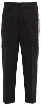Fragment 7 Moncler Geometric-embroidered Logo-print Trousers - Black
