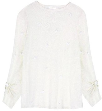 Hoss Intropia Embroidered Bead Sweater - XS - Natural