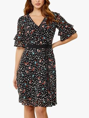 Sosandar Ditsy Floral Print Tie Waist Detail Dress, Black