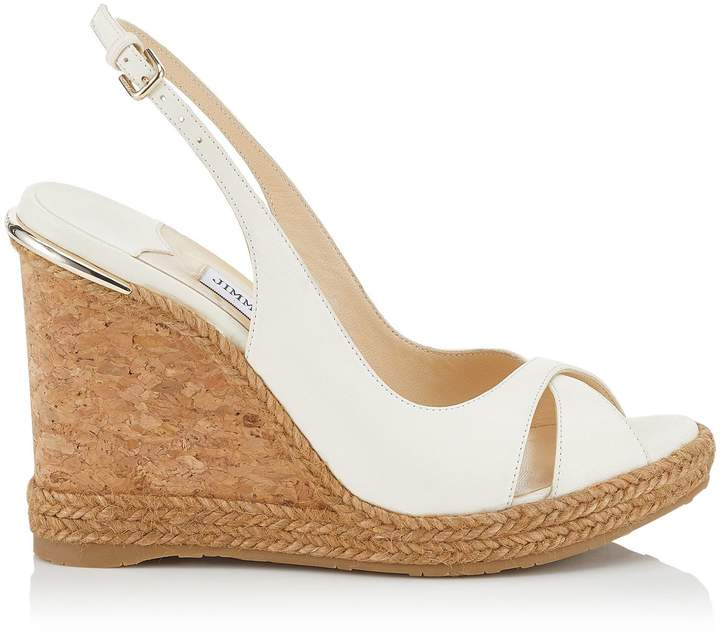 4ac5e65f6be AMELY 105 Chalk Nappa Leather Wedges with Braid Trim
