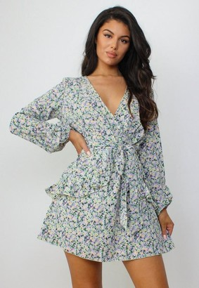 Missguided Black Ditsy Floral Print V Neck Smock Dress