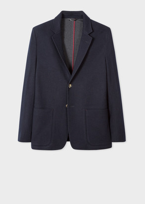 Paul Smith Men's Tailored-Fit Dark Navy Wool And Cotton-Blend Patch-Pocket Blazer