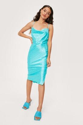Nasty Gal Womens Petite Animal Jacquard Midi Slip Dress - Green - 8