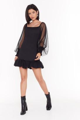 Nasty Gal Womens Can't Shake This Shirring Polka Dot Mesh Dress - Black