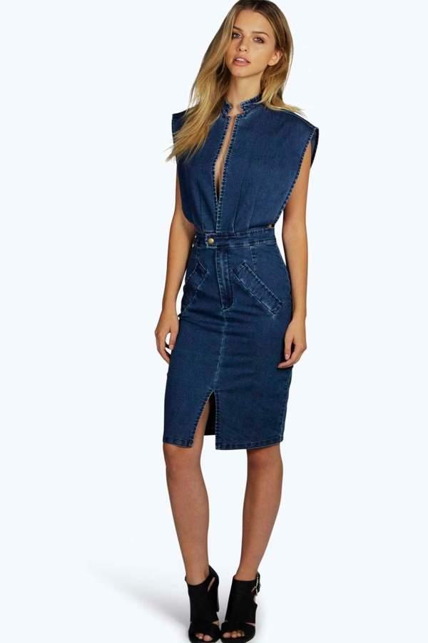 boohoo Boutique Jessica Open Front Denim Dress dark blue