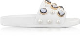 Tory Burch Vail White Leather Slide Sandals w/Crystals