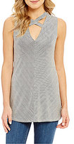 Soprano Stripe Criss-Cross Front Tank Top