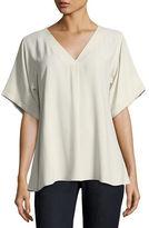 Eileen Fisher Short-Sleeve V-Neck Crepe Blouse