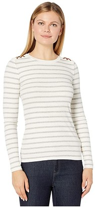 Lauren Ralph Lauren Suede-Detail Waffle Knit Top (Polo Black) Women's T Shirt