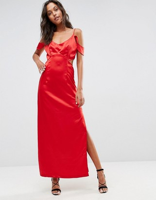 Asos Wyldr Windslow Corvette Satin Dress With Off The Shoulder Frill And Waist Cut Out-Red