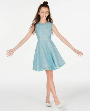 Rare Editions Big Girls Scalloped Lace Fit & Flare Dress