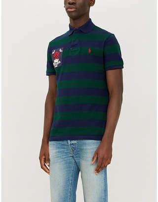 Polo Ralph Lauren Crest patch detail striped cotton polo shirt