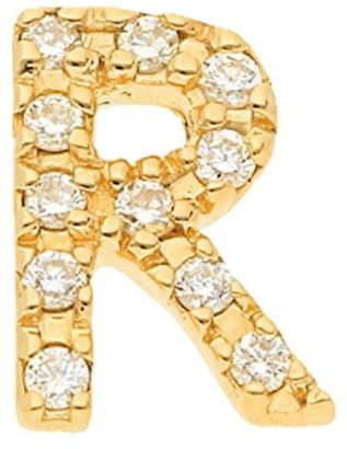 Nephora 14K Yellow Gold & Diamond Initial R Single Stud Earring