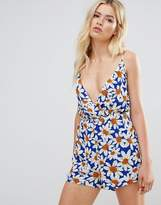 Daisy Street Cami Rompers In Daisy Print