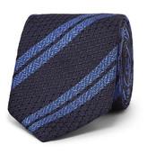 Ermenegildo Zegna 7cm Striped Silk Tie - Midnight blue