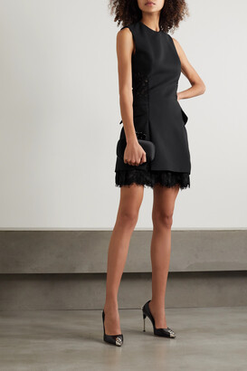 Alexander McQueen - Wool-blend Crepe And Corded Lace Mini Dress - Black