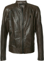 Belstaff banded collar leather jacket - men - Viscose/Leather - 52