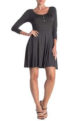 Loveappella 3/4 Length Sleeve Skater Dress