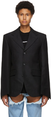 we11done Black Embossed Logo Blazer