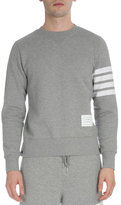 Thom Browne Classic Crewneck Sweatshirt with Striped-Sleeve, Light Gray