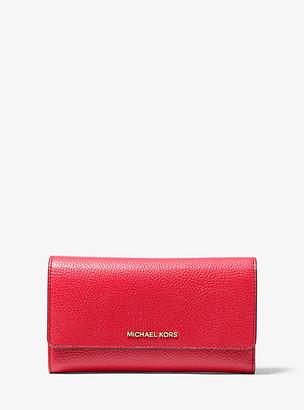 MICHAEL Michael Kors MK Pebbled Leather Tri-Fold Wallet - Bright Red - Michael Kors