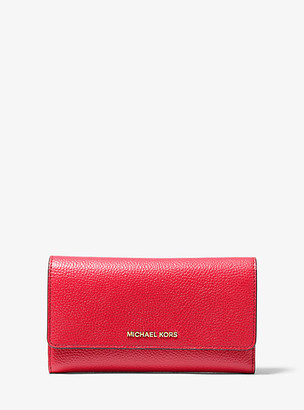 MICHAEL Michael Kors MK Pebbled Leather Tri-Fold Wallet - Soft Pink - Michael Kors