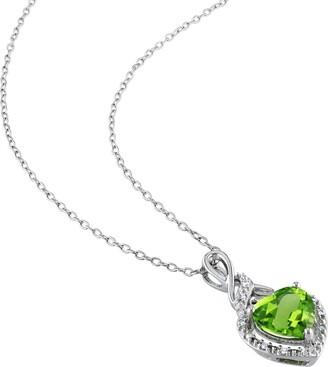 Delmar Sterling Silver Peridot Heart & Diamond Pendant Necklace