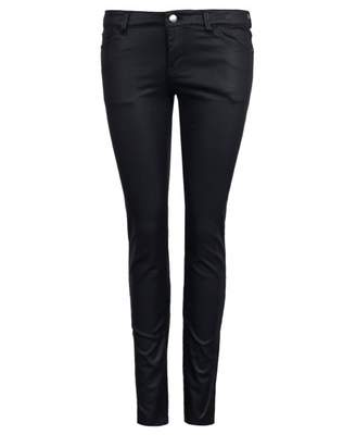Emporio Armani Mid Rise Skinny Coated Push Up Jeans Colour: BLACK, Siz