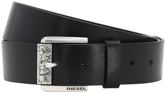 Diesel 40mm Coin Engraved Buckle Leather Belt