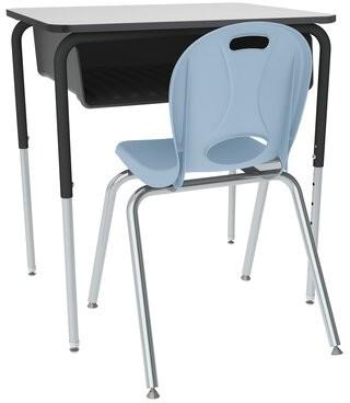 Classroom Set: 16 Open Front Desks & 16 Chairs Learniture Desk Finish: Gray, Seat Color: Sky Blue