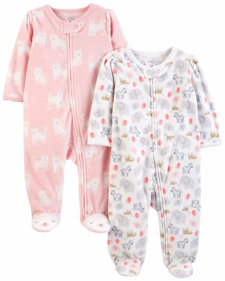 Simple Joys by Carter's Girls' 2-Pack Fleece Footed Sleep and Play