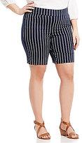 Intro Plus Sheri Pintuck Pull-On Stripe Bermuda Shorts