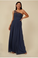 Thumbnail for your product : Little Mistress Bridesmaid Luanna Gunmetal Embellished One-Shoulder Maxi Dress
