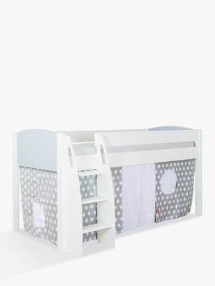 Stompa Uno S Plus Mid-Sleeper Bed with Grey Headboard and Star Print Tent