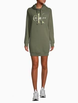 Calvin Klein Metallic Monogram Logo Sweatshirt Dress