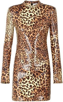 Stand Studio Juno leopard-print faux leather mini dress