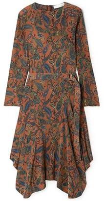 Chloé Asymmetric Printed Silk Crepe De Chine Midi Dress