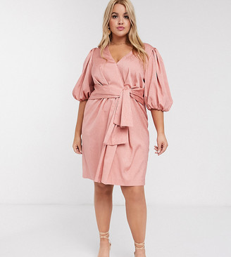 Forever New Curve spot jacquard tie mini dress in blush