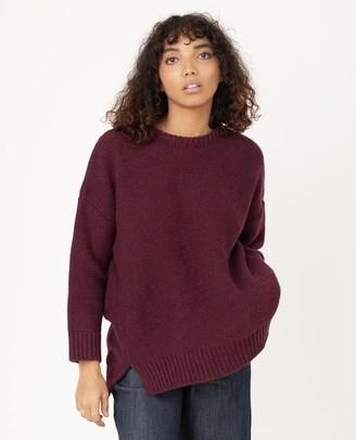 Beaumont Organic Faye Marie Wool Jumper In Bordeaux - XS / Bordeaux / 100% Virgin Wool