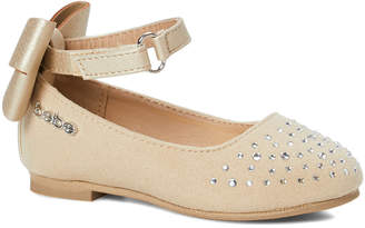 Bebe Girls bebe girls Girls' Ballet Flats Tan/Gold - Tan & Gold Studded Bow Ankle-Strap Ballet Flat - Girls