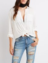Charlotte Russe Tie-Front Button-Up Shirt