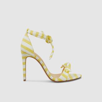 Alexandre Birman Yellow Clarita Striped Heeled Leather Sandals IT 39
