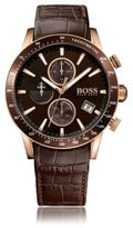 HUGO BOSS 1513392 Chronograph Tachymeter Leather Strap Watch One Size Assorted-Pre-Pack