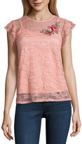 BY AND BY by&by Short Sleeve Round Neck Lace Blouse-Juniors