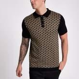 River Island Mens Black geo knit slim fit polo shirt