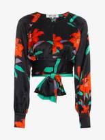 Diane von Furstenberg Silk floral blouse with bow