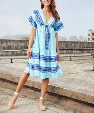 Luukse Women's Casual Dresses 101AQUA/WHITE - Aqua & White Geometric Stripe Ruffle V-Neck Dress - Women & Plus