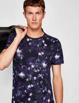 Monkey And Floral Print Cotton T-shirt